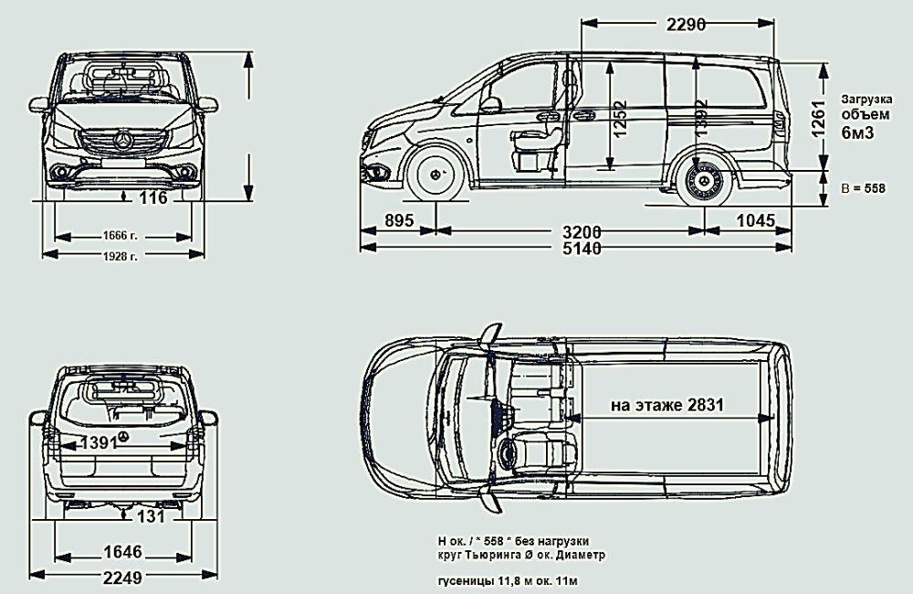 Габаритные размеры Mercedes-Benz eVito L2 схема