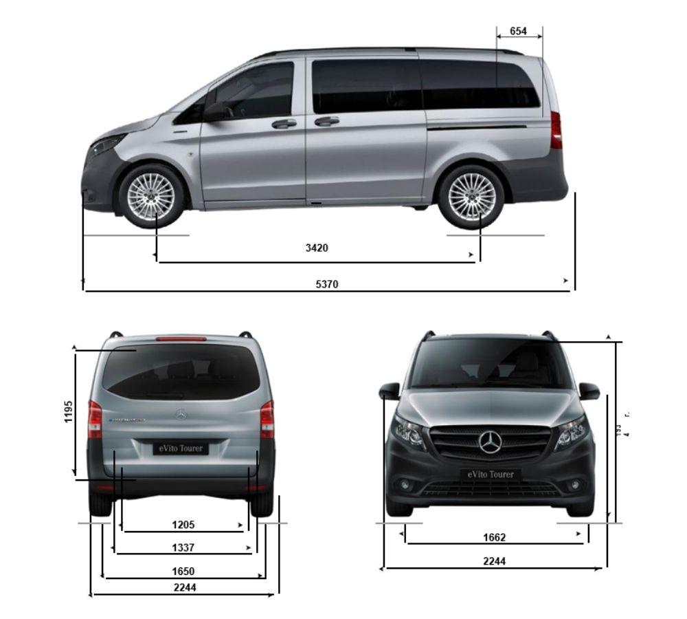 Схема габаритов Mercedes eVito Tourer L3