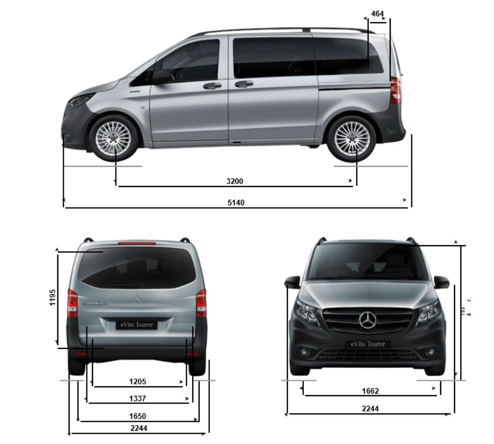 Схема габаритов Mercedes eVito Tourer L2